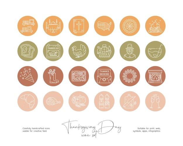 Set of hand drawn line art vector thanksgiving day illustrations for social media or branding