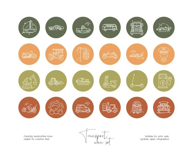 Set of hand drawn line art vector transpor illustrations for social media or branding