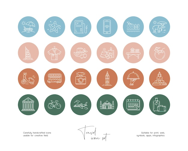 Set of hand drawn line art vector travel illustrations for social media or branding