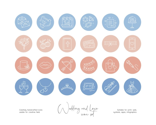 Set of hand drawn line art vector wedding and love illustrations for social media or branding