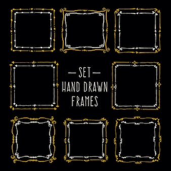 Set hand drawn line border vintage vector drawing frames to your template