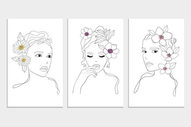 セット手描きの線形女性の肖像画