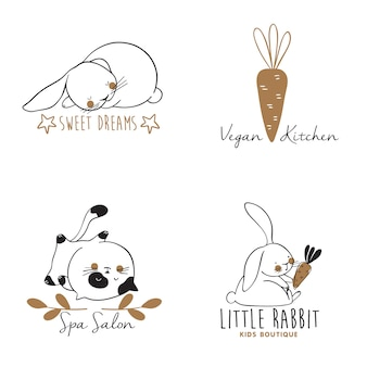 Set of hand drawn logo templates with cats and rabbits