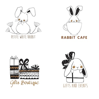 Set of hand drawn logo templates with cute rabbits