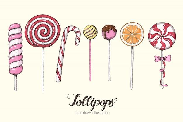 Set of hand drawn lollipops. sweets, dessert menu. lettering. sketch.