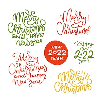 Set of hand drawn lonear lettering  merry christmas happy new year vector calligraphy phrases for pr...