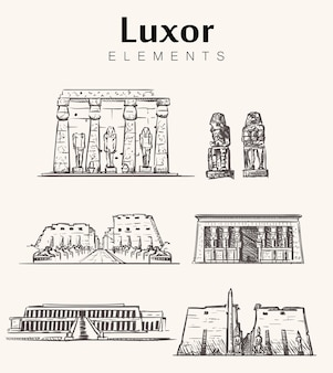 Set of hand-drawn luxor buildings