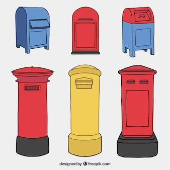 Set of hand-drawn mailboxes