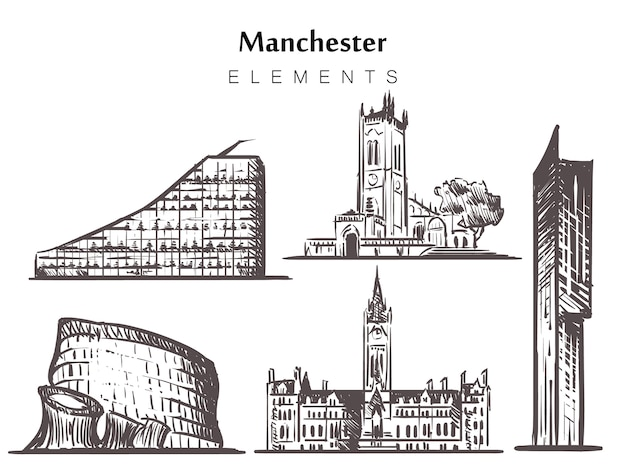 Set of hand-drawn manchester buildings