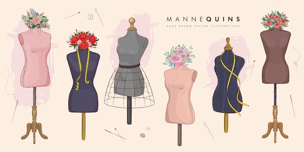 Set of hand drawn mannequins and flowers