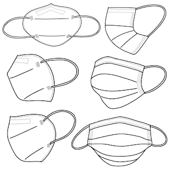 Set of hand drawn medical mask isolated on white background, corona protection .vector illustration.