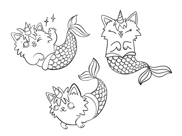 Set of hand drawn mercaticorn, cute cartoon mermaid cat with unicorn horn in different poses.