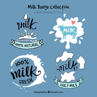 Set of hand drawn milk stickers