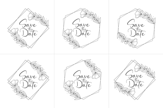 Set of hand drawn minimal floral wedding badges
