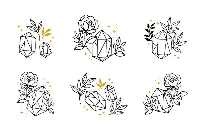 set of hand drawn minimalistic crystal leaf and rose flower logo elements