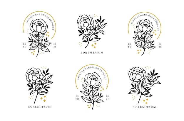 Set of hand drawn minimalistic rose flower, peony, and leaf logo elements Premium Vector