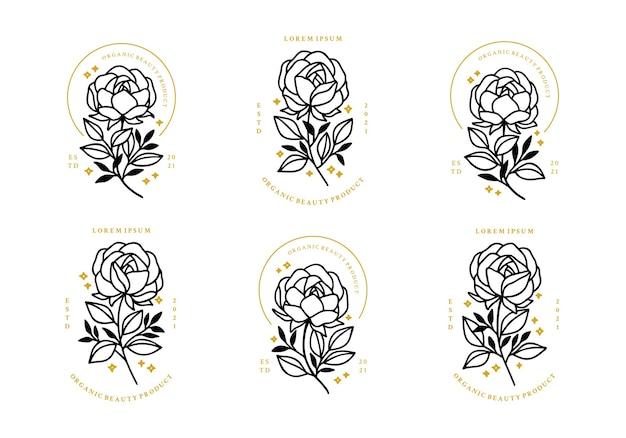 Set of hand drawn minimalistic rose flower, peony, and leaf logo elements