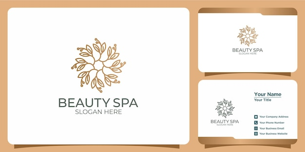 Set of hand drawn modern and feminine beauty template logos and business cards