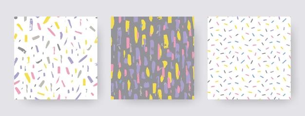 브러시 스트로크의 손으로 그린 현대적인 패턴을 설정합니다. 벡터 원활한 질감 모양입니다. boho 색상에서 추상적인 배경입니다. 장식용 프린트