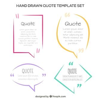 Set di modelli di quotazione moderni disegnati a mano
