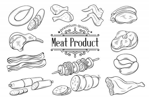 Set hand drawn monochrome icon meat