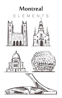 Set of hand-drawn montreal buildings