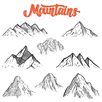 Set of hand drawn mountain illustrations.