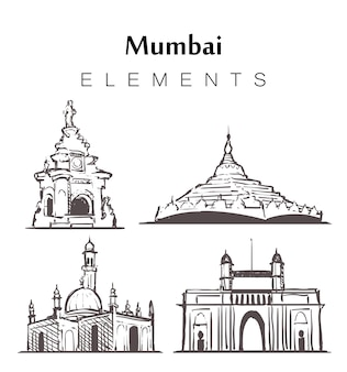 Set of hand-drawn mumbai buildings