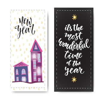 Set of hand drawn new year banners. handwritten lettering