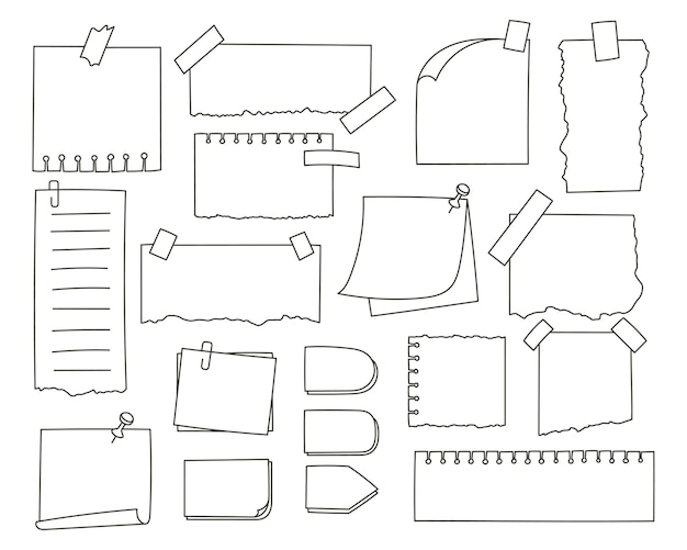 Set of hand drawn note paper with stickers and pins illustration
