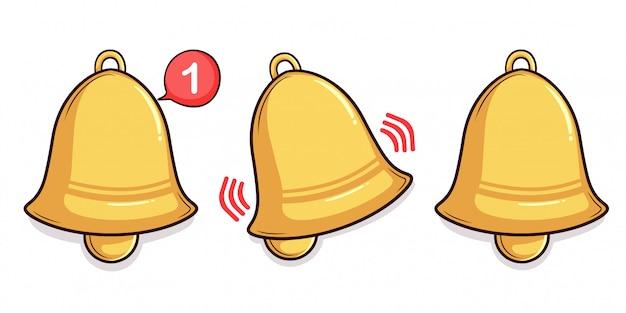 Set of hand drawn notifiication bell