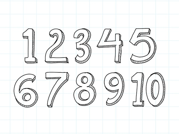 Set of hand drawn numbers isolated on white background