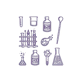 Set of hand drawn objects associated with chemistry and experiments