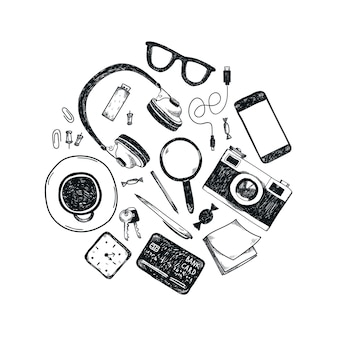 Set of hand drawn office tools in circle. freelance, tools for making business online, entrepreneur.