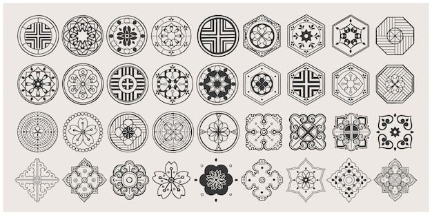 Set of hand drawn oriental elements. black mandala. asian traditional design.