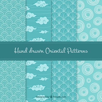 Set of hand drawn oriental patterns