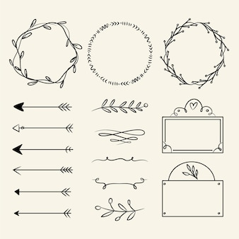 Set of hand drawn ornamental elements