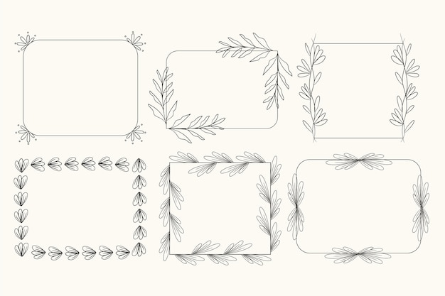 Set of hand drawn ornamental frames