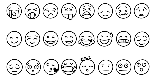 Set of hand drawn outline style emoji icons collection isolated on white background, vector illustration.