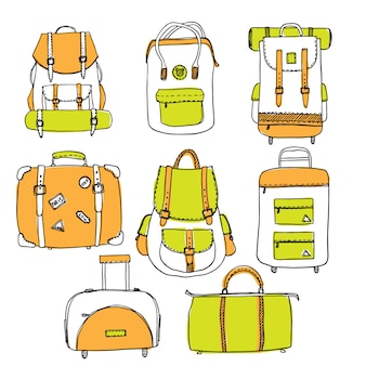 Set of hand drawn outline vector suitcases