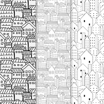Set of hand drawn pattern with city background.