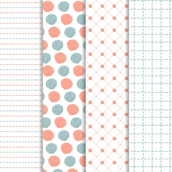 Set of hand drawn patterns in blue and coral
