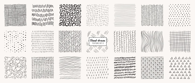 Set of hand drawn patterns isolated.   textures made with ink, pencil, brush. geometric doodle shapes of spots, dots, circles, strokes, stripes, lines.