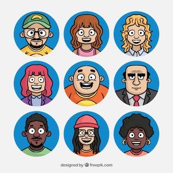 Set of hand drawn people avatars