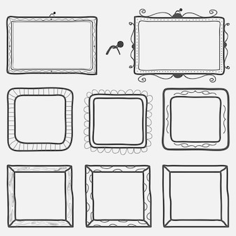 Set of hand drawn picture frames. vector illustration.