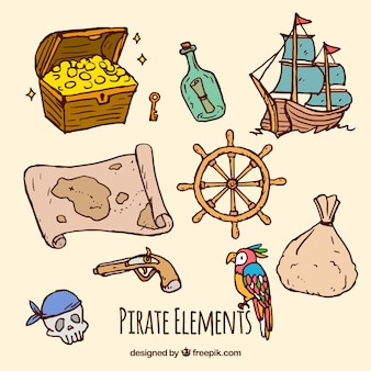 Set of hand drawn pirate elements