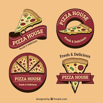 Set of hand-drawn pizza logos in vintage style