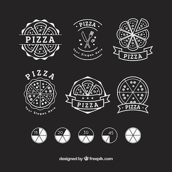 Set of hand drawn pizza logos