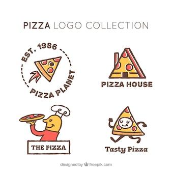 Set of hand drawn pizza logos