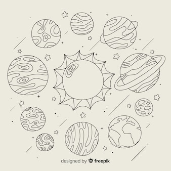 Set of hand drawn planet in doodle style